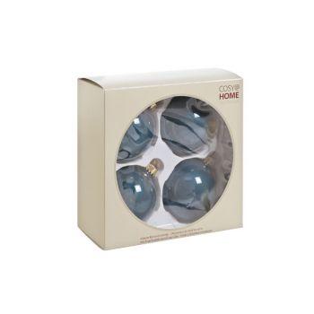 Cosy @ Home Glass Ball 4pcs Petrol Blue Perle D8cm