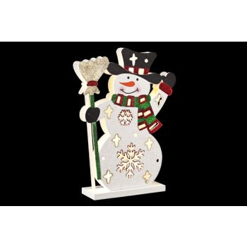 Cosy @ Home Wooden Snowman With Led 23x6xh30cm