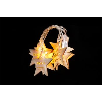 Cosy @ Home Xmas Star Garland 10led Wood 225x10cm