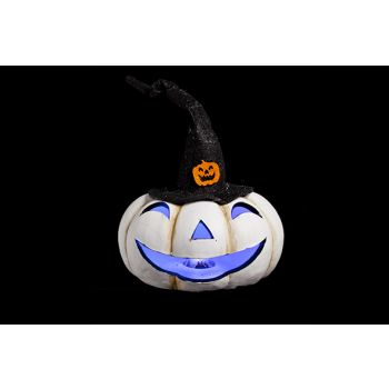 Cosy @ Home White Pumpkin W Hat Led Light 16x16x13cm