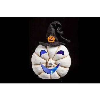 Cosy @ Home White Pumpkin W Hat Led Light 15x9x16cm