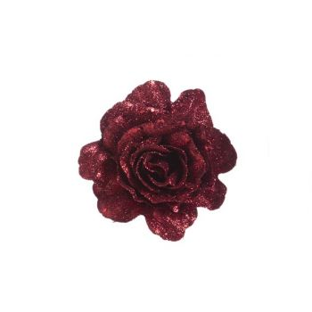 Cosy @ Home Rose On Clip Glitter Cherry D10cm