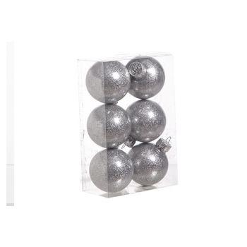 Cosy @ Home Ball Plastic Glitter Set6 Silver D6cm