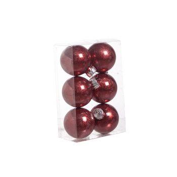 Cosy @ Home Ball Plastic Glitter Set6 Red D6cm