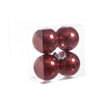 Cosy @ Home Ball Plastic Glitter Set4 Red D8cm