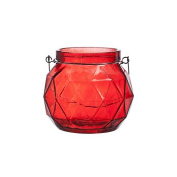 Cosy @ Home Lantern Geometric Glass Red 12x12x10.5