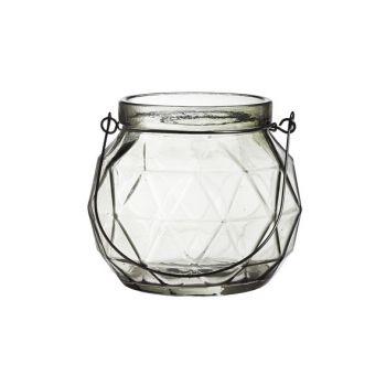 Cosy @ Home Lantern Geometric Glass Gray 12x12x10.5