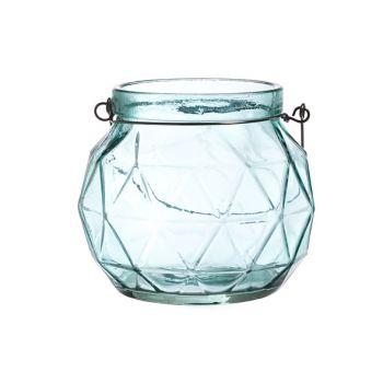 Cosy @ Home Lantern Geometric Glass Aqua 12x12x10.5
