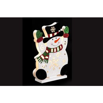 Cosy @ Home Happy Snowman With Led Wood 23x6xh30cm