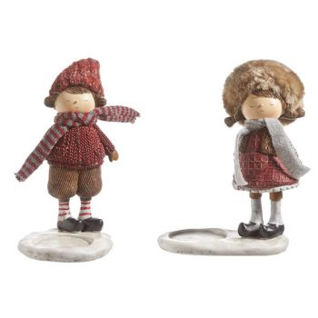 Cosy @ Home Lily Kids Tealighth.2 Types Red Brown Resin