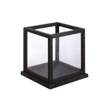 Cosy @ Home Candle Holder Wood Glass Black 28x28x28c
