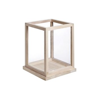 Cosy @ Home Candle Holder Wood And Glass 26x26xh32cm