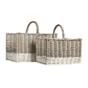 Cosy @ Home Basket Willow S2 Gry-white W.handle