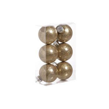 Cosy @ Home Ball Plastic Glitter Set6 Gold D6cm