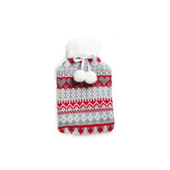 Cosy & Trendy Hot Water Bottle 2l Cover Red-grey 20x34