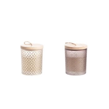 Cosy @ Home Candle Glass With Lid 2 Types Wood 9x9x11cm