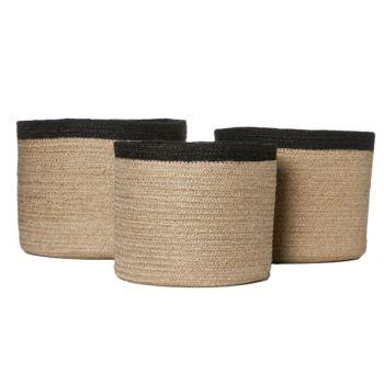 Cosy @ Home Jaro Basket Jute Set3 Nature-black Round