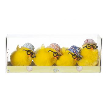 Cosy @ Home Chicken With Glasses And Cap Set4 Yellow