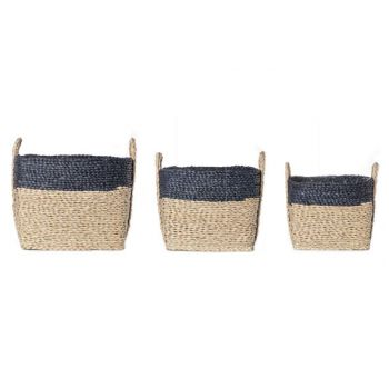 Cosy @ Home Blue Band Basket Set3 Square Willow