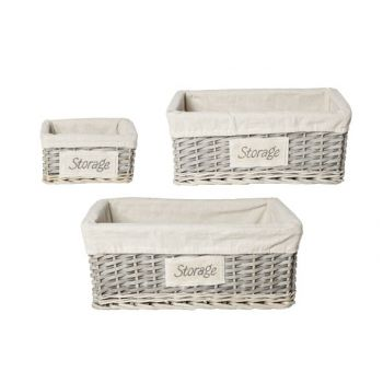 Cosy @ Home Baskets Willow Grey-white Rectangle S5