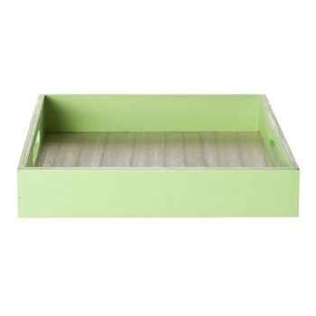 Cosy @ Home Tray Green Frame Wood 24x24x4.5cm