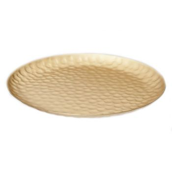 Cosy @ Home Dish Round Metal Gold  24x24x1cm