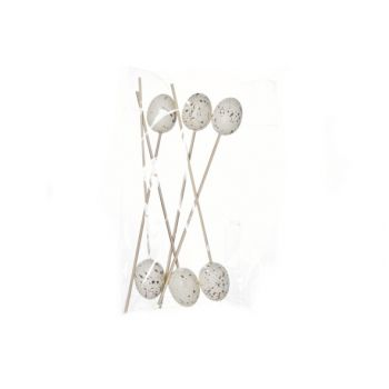 Cosy @ Home Easteregg 4.5cm Stick L24cm Set6 White