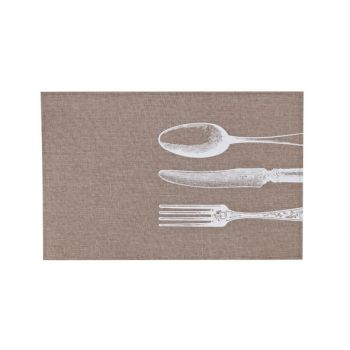 Cosy & Trendy Placemat Poly-linen Brown-printed White