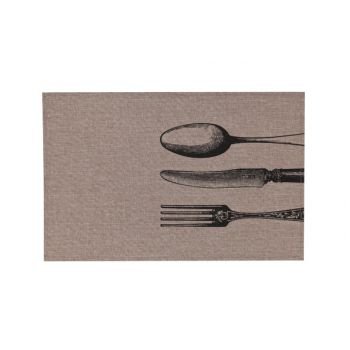 Cosy & Trendy Placemat Poly-linen Brown-printed Black