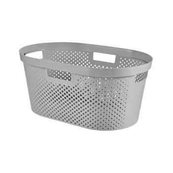 Curver Infinity Wash Basket Dots 39l Light Gray