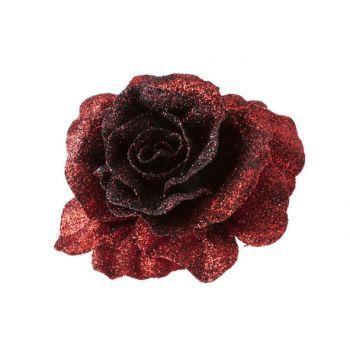Cosy @ Home Rose On Clip Glitter Red Dark D10cm
