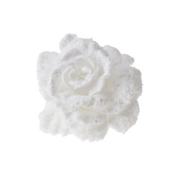 Cosy @ Home Rose On Clip White With Snow D10cm