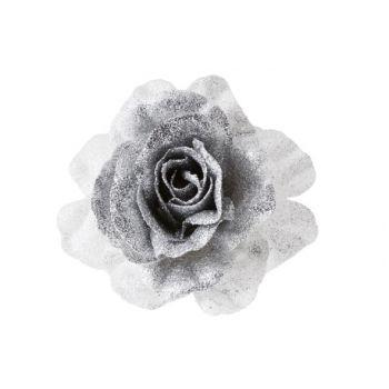 Cosy @ Home Rose On Clip Glitter White Silver D10cm