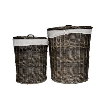 Cosy @ Home Linen Basket S2 Round Black With Cloth