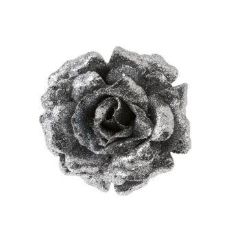 Cosy @ Home Rose On Clip Glitter Silver D12cm
