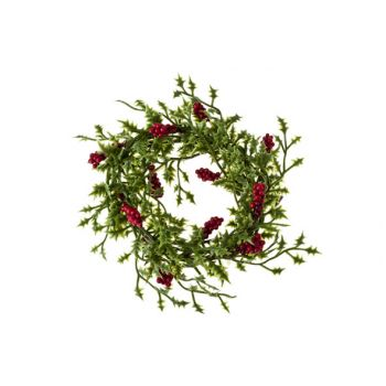 Cosy @ Home Wreath Mini Holly Leaf Red Berry D10cm