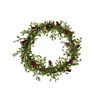 Cosy @ Home Wreath Mini Holly Leaf Red Berry D17cm