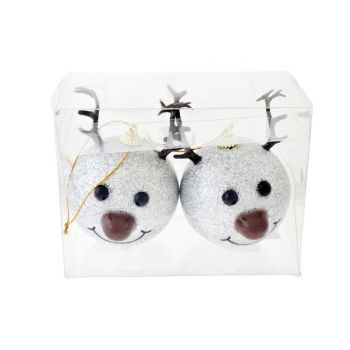 Cosy @ Home Reindeer Ball Nose Led Set2 Silvd8xh12cm