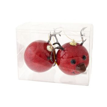 Cosy @ Home Reindeer Ball Nose Led Set2 Red D8xh12cm