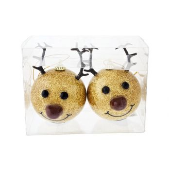 Cosy @ Home Reindeer Ball Nose Led Set2 Goldd8xh12cm