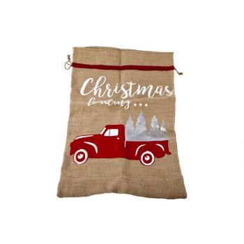 Cosy @ Home Jute Xmas Bag Truck 43x63cm