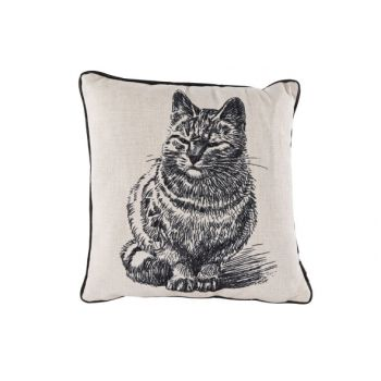 Cosy @ Home Cushion Linen Black Cat 34x34cm