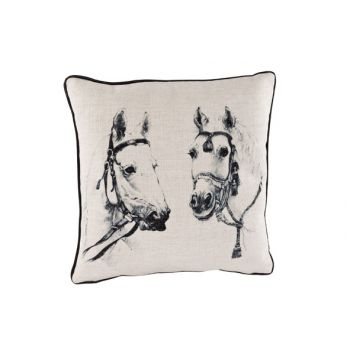 Cosy @ Home Cushion Linen Black Horses 34x34cm
