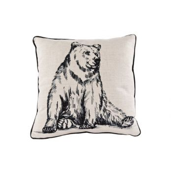 Cosy @ Home Cushion Linen Black Bear 34x34cm