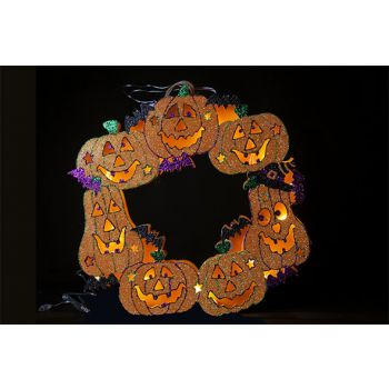 Cosy @ Home Pumpkin Wreath 10led Wood D40cm
