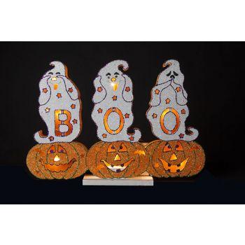 Cosy @ Home Pumpkin Boo Glitter 10led Wood 44x6x30cm