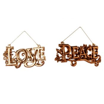Cosy @ Home Love Peace Hang 2 Types Copper 12xh6cm