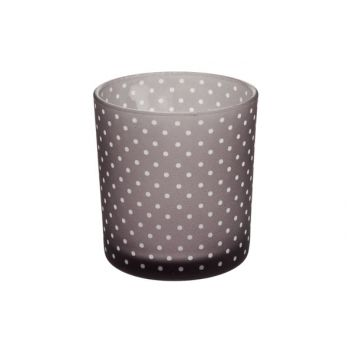Cosy @ Home T-lightholder Grey Dots D7xh8cm Glass