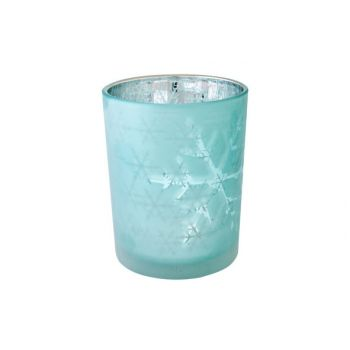 Cosy @ Home T-lighth Snowflakes Ice Blue D10x12cm