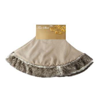 Cosy @ Home Tree Skirt Jute W Fur Black White D104cm